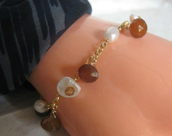 Keshi Bloom Design- Charm Bracelet with Pearl, Chalcedony & Hessonite Garnet, Gold Filled