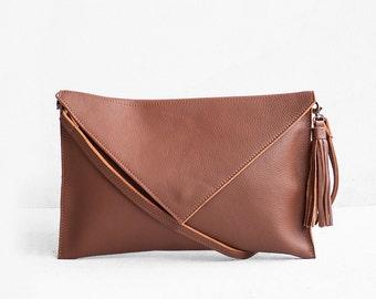Brown Leather Clutch, Evening Leather Clutch, Leather Clutch Bag, Envelope Clutch, Brown Bag, Brown Leather bag, Wedding Clutch