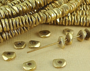 40 Brass Faceted wavy Spacer Beads 6mm Heishi Chip Nugget Disc Solid Brass jewelry making Beading from India Flat Metal Natural Heishi Beads