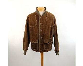 1970s suede jacket by Zero King brown leather bomber jacket Size L Size 44