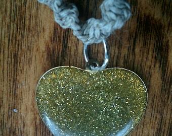 Gold Glitter Heart Pendant on Natural Hemp Choker