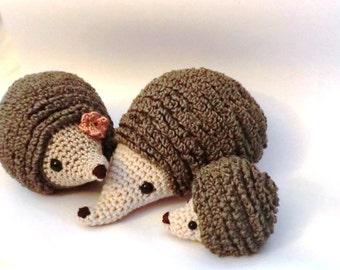 Hedgehog family amigurumi PDF crochet pattern