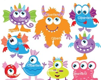 ON SALE INSTANT Download. Cm_25_monsters. Cute monsters clip art. Personal and commercial use.
