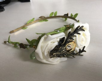 Stag and Roses headband
