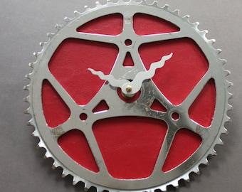 Fahrrad-Getriebe Uhr - rote Vintage | Fahrrad Uhr | Wanduhr | Aufbereitete Fahrrad Teile Uhr