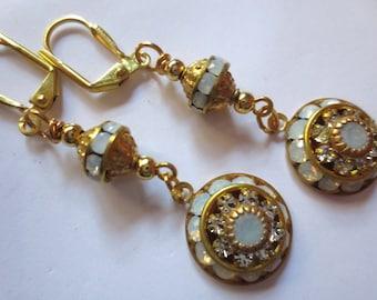 Art Deco earrings opal earrings vintage style wedding earrings crystal Art Nouveau earrings Renaissance dainty bridal earrings