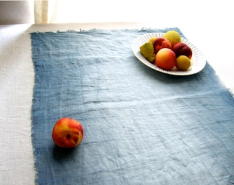 Table runner, French linen, hand dyed with natural indigo, minimalist rustic chic decor, organic woad linen runner, wabi-sabi, house gift