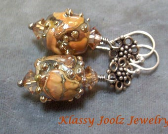 Lampwork Drop Earrings-Artisan Lampwork and Sterling-Metallic Rust Lampwork Earrings-Boho Earrings-Earthy Earrings-Artisan Earrings -SRAJD
