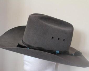 Vintage Stetson 4X Beaver Gray Fur Felt  Western Hat Size 7 3/8