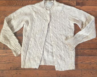 Vintage Women's L.L. Bean Pure Shetland Sweater Cardigan Size Small