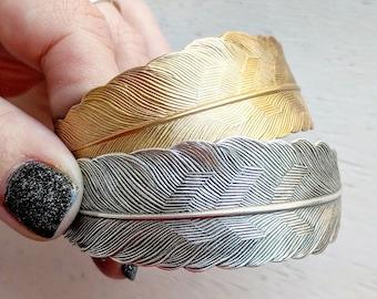 Gold or Silver Feather Bracelet - Choose Antiqued Silver or Antiqued Brass - Large Feather Jewelry - Bohemian Cuff Bracelet