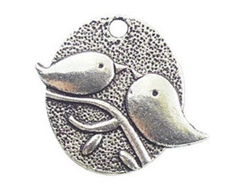 8 Silver Kissing Birds Charm 25x29mm by TIJC SP0672