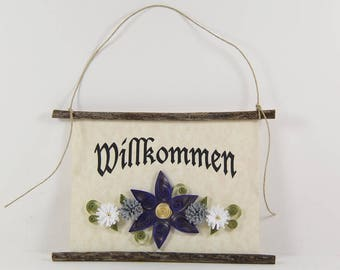 Willkommen, German Welcome, Paper Quilled German Welcome Sign, 3D Quilled Banner, Paper Flower Decor, Purple Grey White Decor, Germany Gift