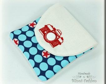 bag for camera accessories, blue, white
