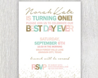 Printable gold glitter invitation  -  Pink, mint and gold - Best day ever - First birthday invitation - Customizable