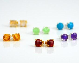 Small Birthstone Stud Earrings, Gemstone Studs Earrings, Everyday Studs Earrings Tiny Gemstone Earrings Tiny Gemstone Studs Mothers Day gift