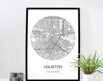 Houston Map Print - City Map Art of Houston Texas Poster - Coordinates Wall Art Gift - Travel Map - Office Home Decor
