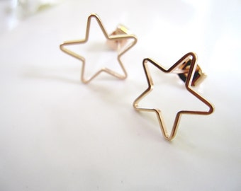 Rose Gold Star Earrings, Modern, Everyday Earrings, Post style, Minimalist Jewelry, Redpeonycreations