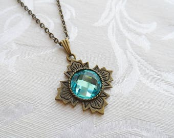 75% Off Sale Aqua Blue Faceted Glass Necklace