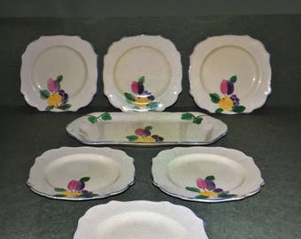 Vintage Royal Venton Ware Art Deco Hand Painted 6 Side Plates and Serving Plate