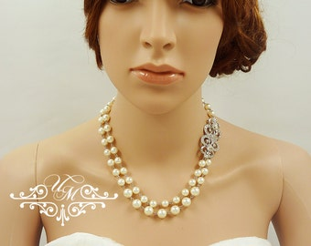 Wedding Jewelry Double strands Swarovski Pearl Necklace Rhinestone Necklace Bridal Necklace Bridal Jewelry Bridesmaids Necklace - JANICE