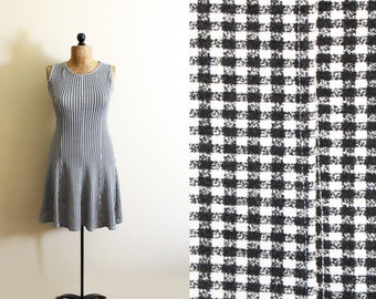 vintage dress 90s express womens clothing 1990s black and white grey checkered plaid size small s