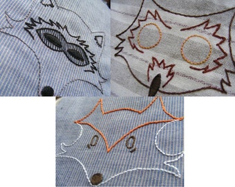 Animal Embroidery Pattern trio - Fox, Owl, Raccoon