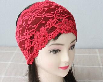 Red lace headband adult headband woman wide headbands for women bohemian headband yoga headband workout headband gift for her strech lace