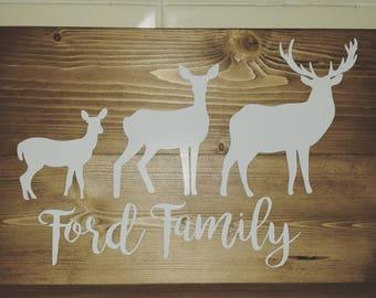 Personalised Deer Wood Plaque