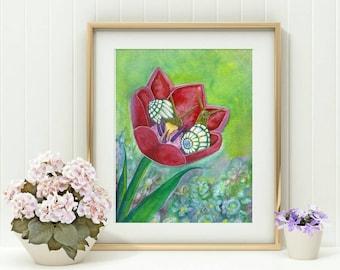 Oracle Deck Art - Snail Print - Snail Art - Watercolor Snails Print - Tulip Art - Watercolor Print - Snail Illustration - Nature Painting