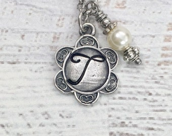 Personalized Necklace - Mothers Day Gift - Monogram Necklace - Flower Necklace - Initial Necklace - Birthstone Necklace - Pewter Necklace