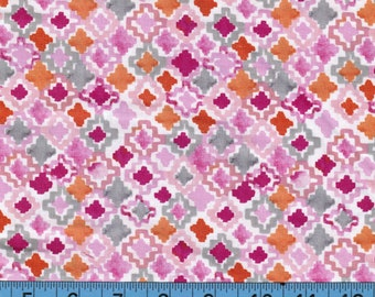 Multi Geo Print Pink Flamingo, Keepsake Calico, 100% Cotton Fabric,Quilting,Apparel Fabric,HomeDecor Fabric, Craft Projects, Fun and Bright