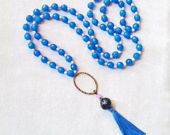 Lange Quaste Halskette Perlen blauer Kristall Halskette, Boho-Layering-Kette, Jahrestagsgeschenk für sie, Geschenk für Frau, Geschenk für Lehrer