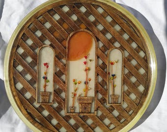 Large round Lucite tray with wooden lattice and flowers