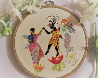 Fairy artwork, hand embroidered, wall hanging, dancing fairies, multicultural, flowers, joyful, intricate detail, colourful, beautiful gift