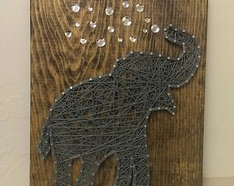 Elephant String Art, Nursery String Art, String Art, Baby String Art, Elephant Decor, Elephant Wall Hanging, Nursery Decor, Baby Decor, art