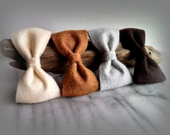 Neutral colored felt bow hair clip. Girls hair accessories