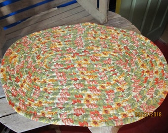 "Vintage Hand Made Braided 29"" x 21"" Oval Rag Rug Light & Bright Yellow Orange Green Sunflowers - Great Kitchen Rug"