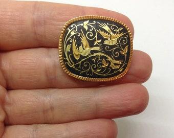 Vintage damascene brooch exotic birds gold black enamel