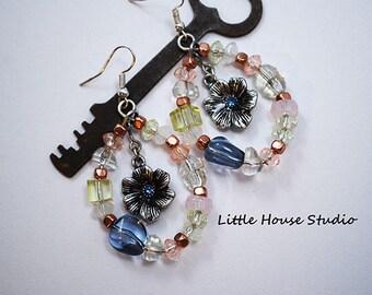 Multi Color Beaded Hoop Earrings, Large Beaded Hoop Earrings, Boho Earrings, Dangle & Drop Earrings, Hippie Earrings, Multi Color Beads