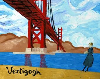 Vertigogh // Van Gogh Hitchcock pun funny art print