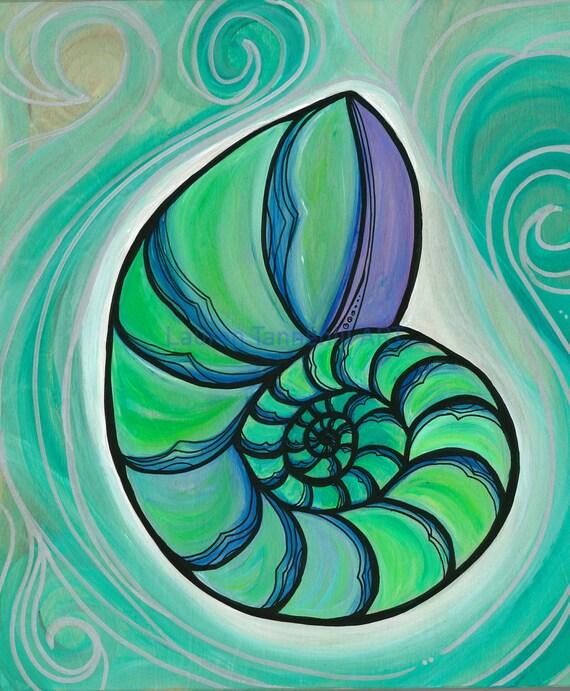 8x10 Giclee Print of Glowing Serene Ocean Nautilus Shell Swirls in the Sea by Lauren Tannehill ART