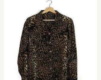 ON SALE Vintage Leopard printed Long Sleeve Slouchy Blouse  from 80's*