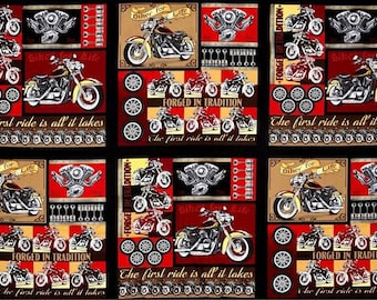 Quilting Treasures - Biker For Life Patches Panel