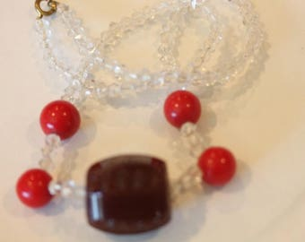 Vintage clear red and root beer brown color glass bead strand necklace