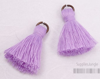 T002-CO-PV // Pastel Violet Cotton Tassel Pendant, 4pcs, 23mm