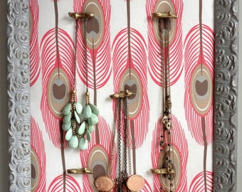 Coral and Gray Jewelry Hanger