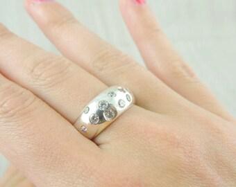 Zircon silver ring,  Wedding ring  , Wide silver ring, White zircon ring