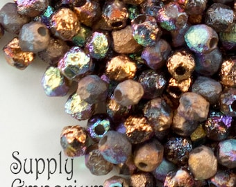 4mm Etched Crystal Glittery Bronze Firepolished Beads, 100 Beads -2632- Etched Glittery Bronze 4mm Fire Polished Round Beads