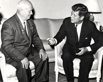 President John F. Kennedy Meets with Soviet Premier Nikita Khrushchev in Vienna 1961 - 5X7, 8X10 or 11X14 Photo (EP-625)